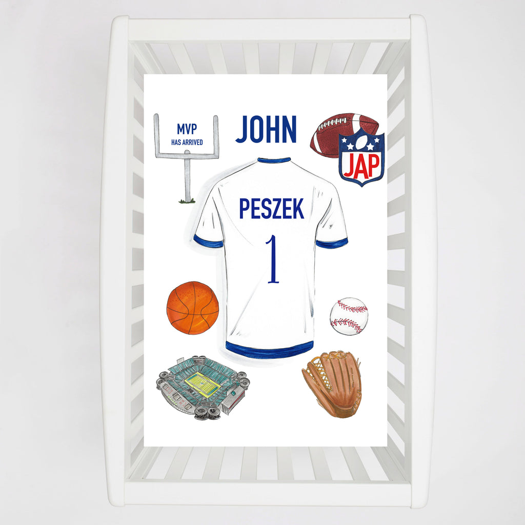 Sports Personalized Crib Sheet