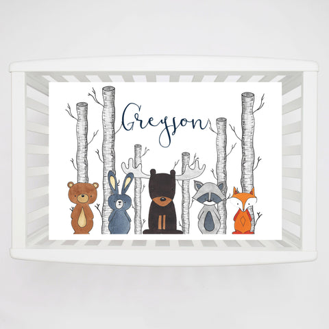 Into the forest Personalized Crib Sheet