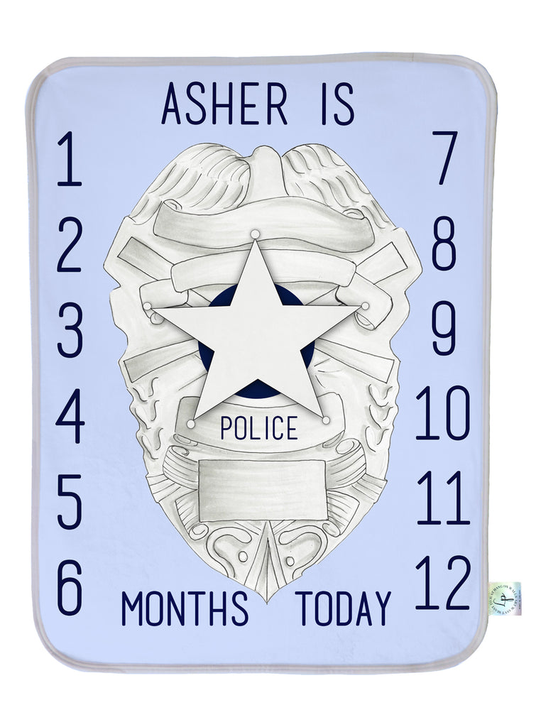 Police Badge Milestone Blanket