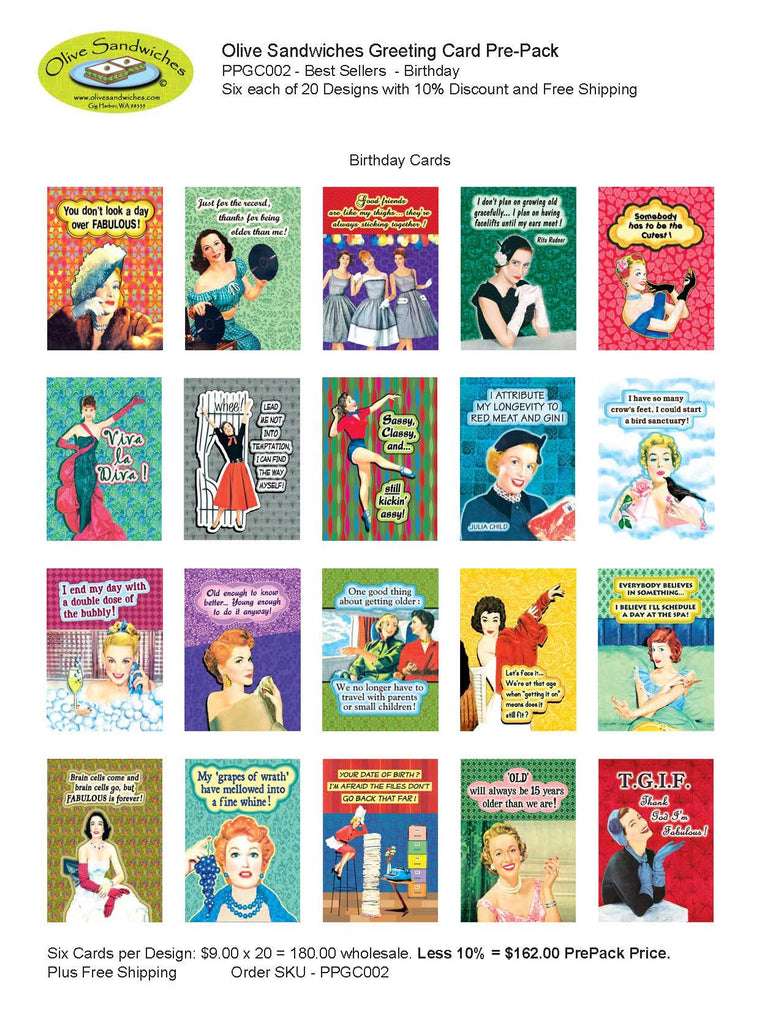 PPGC002 - Pre-Pack Birthday: 6 each of 20 Greeting Card Best Sellers