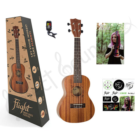 Flight NUC310 Sapele Concert Ukulele Natural Series Kit w/ Ukulele, Gigbag, Tuner, Booklet