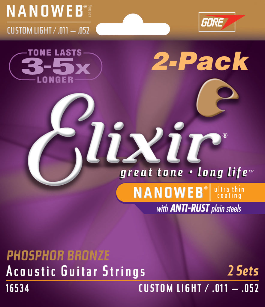 Elixir 16534 NANOWEB 2-Pack Custom Light Acoustic Phosphor Bronze Guitar Strings