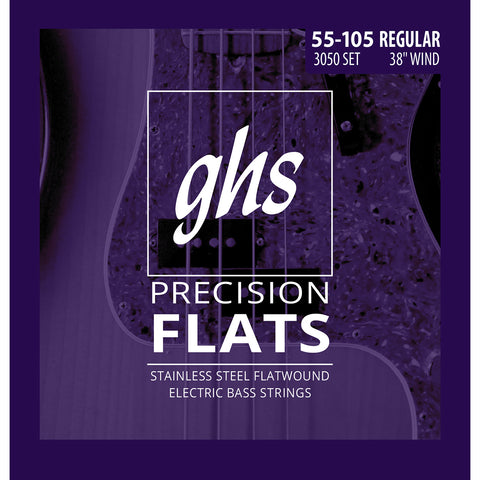 GHS 3050 Stainless Steel Flatwound Regular 55-105 Bass Guitar Strings