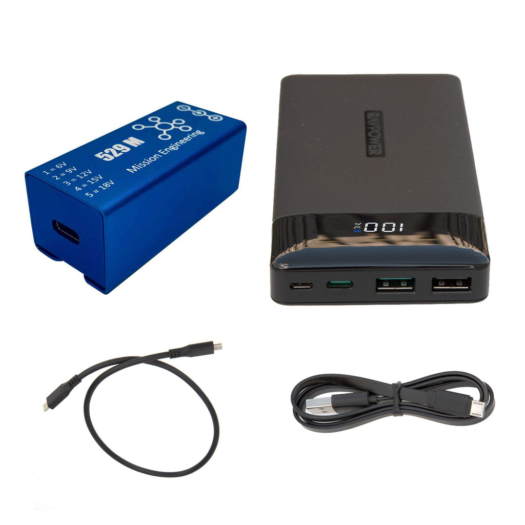 Mission Engineering 529M Bundle: USB Converter, 15KmAh Battery Pack, Cables