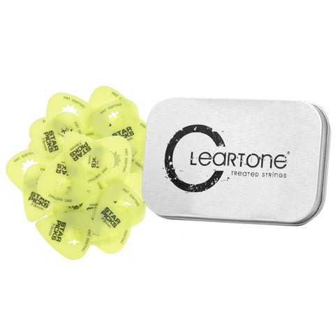 50 Neon Yellow Everly Star Picks With FREE Cleartone Collectors Tin