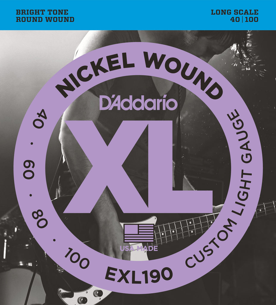 D'Addario EXL190 Nickel Wound Custom Light 40-100 Long Scale Bass Guitar Strings