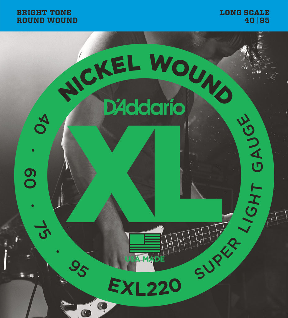 D'Addario EXL220 Nickel Wound Super Light 40-95 Long Scale Bass Guitar Strings