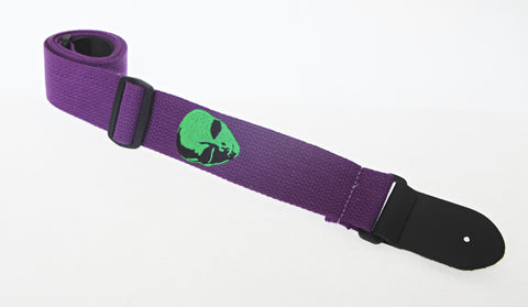 "Henry Heller HCOT2EAL-PUR 2"" Purple With Green Alien Head Embroidered Cotton Guitar Strap"