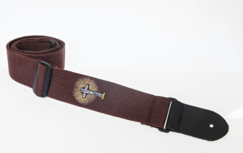 "Henry Heller HCOT2ECR-BRN 2"" Brown With Radiant Cross Embroidered Cotton Guitar Strap"