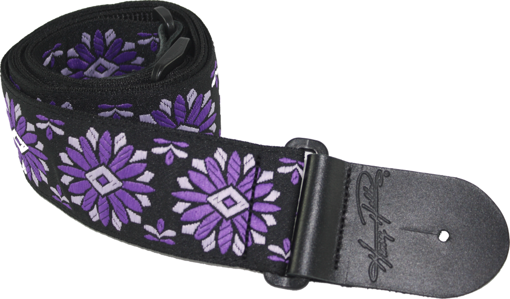 "Henry Heller HJQ2-09 2"" Woven Purple & White Floral Jacquard Guitar Strap"
