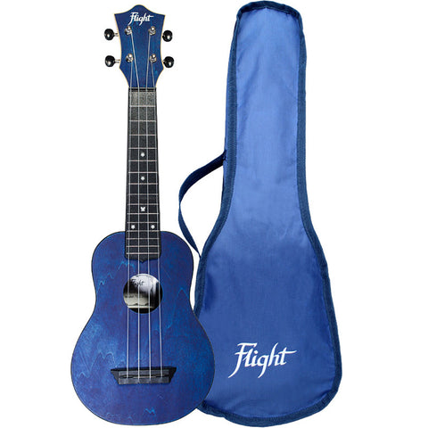 Flight TUS35 Dark Blue Travel Soprano Ukulele with Travel Bag