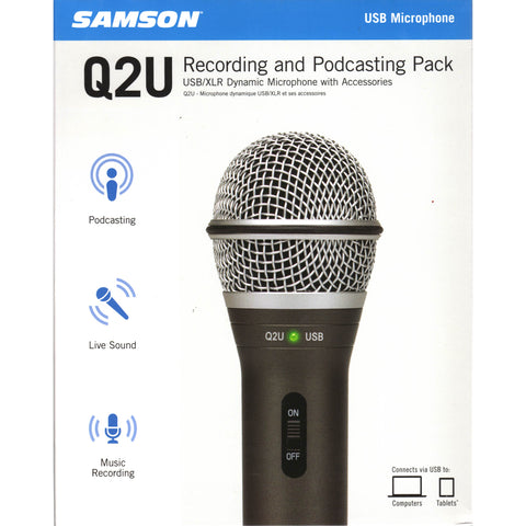 Samson Q2U USB-XLR Dynamic Microphone Recording & Podcasting Package
