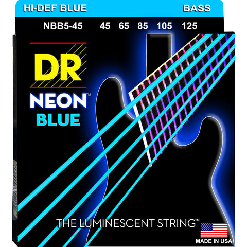 DR Strings NBB5-45 Neon Blue Medium 45-125 5-String Bass Strings
