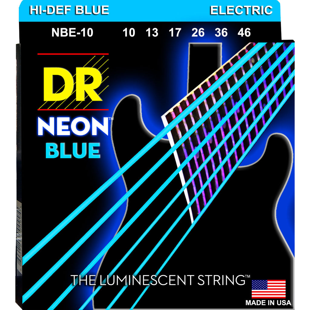 DR Strings NBE-10 Neon Blue Medium 10-46 Electric Guitar Strings