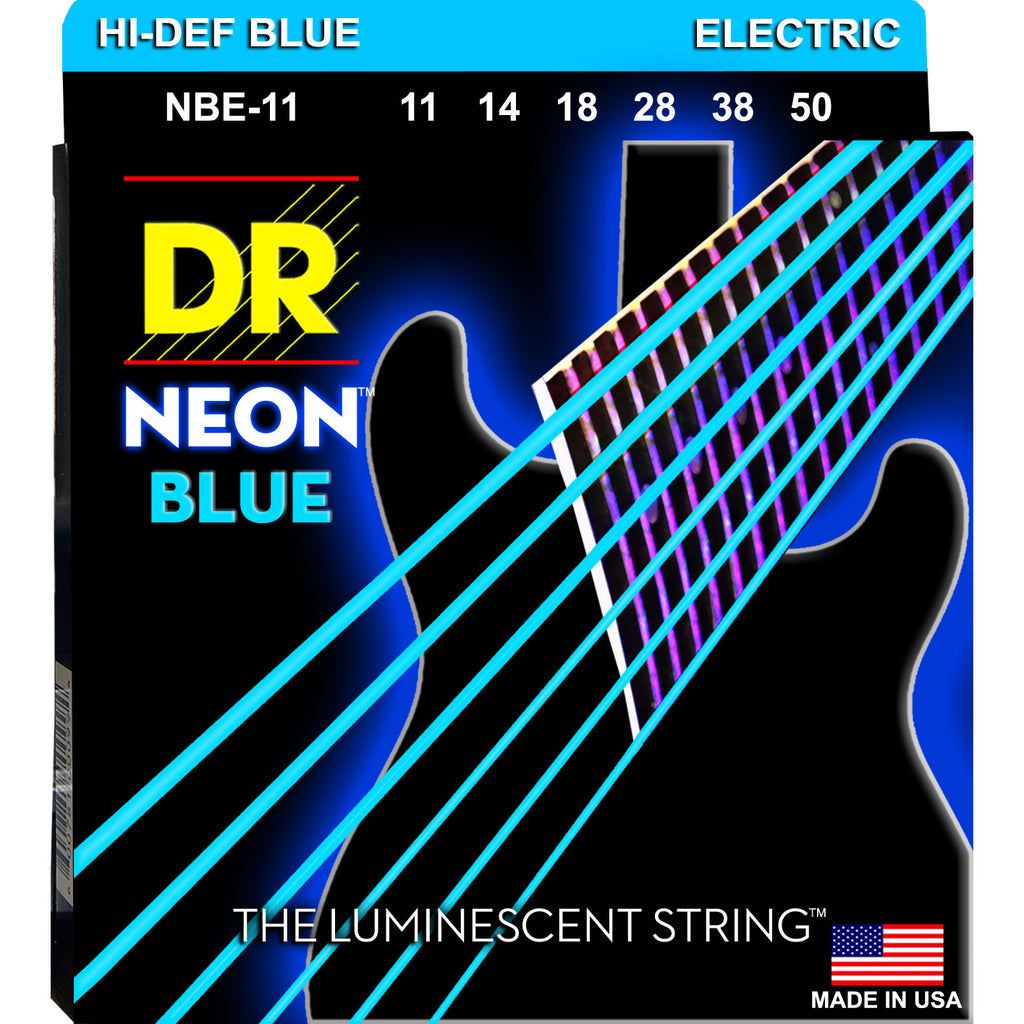 DR Strings NBE-11 Neon Blue Heavy 11-50 Electric Guitar Strings