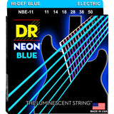 3 Sets DR NBE-11 Neon Blue Heavy 11-50 Electric Guitar Strings