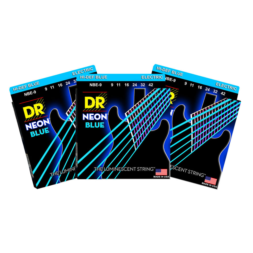 3 Sets DR NBE-9 Neon Blue Light 9-42 Electric Guitar Strings