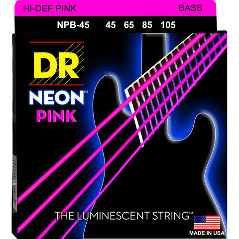 DR Strings NPB-45 Hi Def Neon Pink Medium 45-105 Bass Guitar Strings