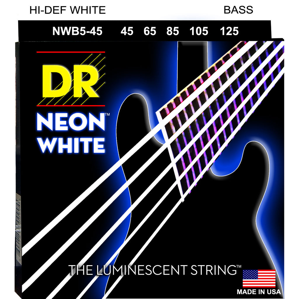 DR Strings NWB5-45 Hi Def Neon White 5-String Medium 45-125 Bass Guitar Strings