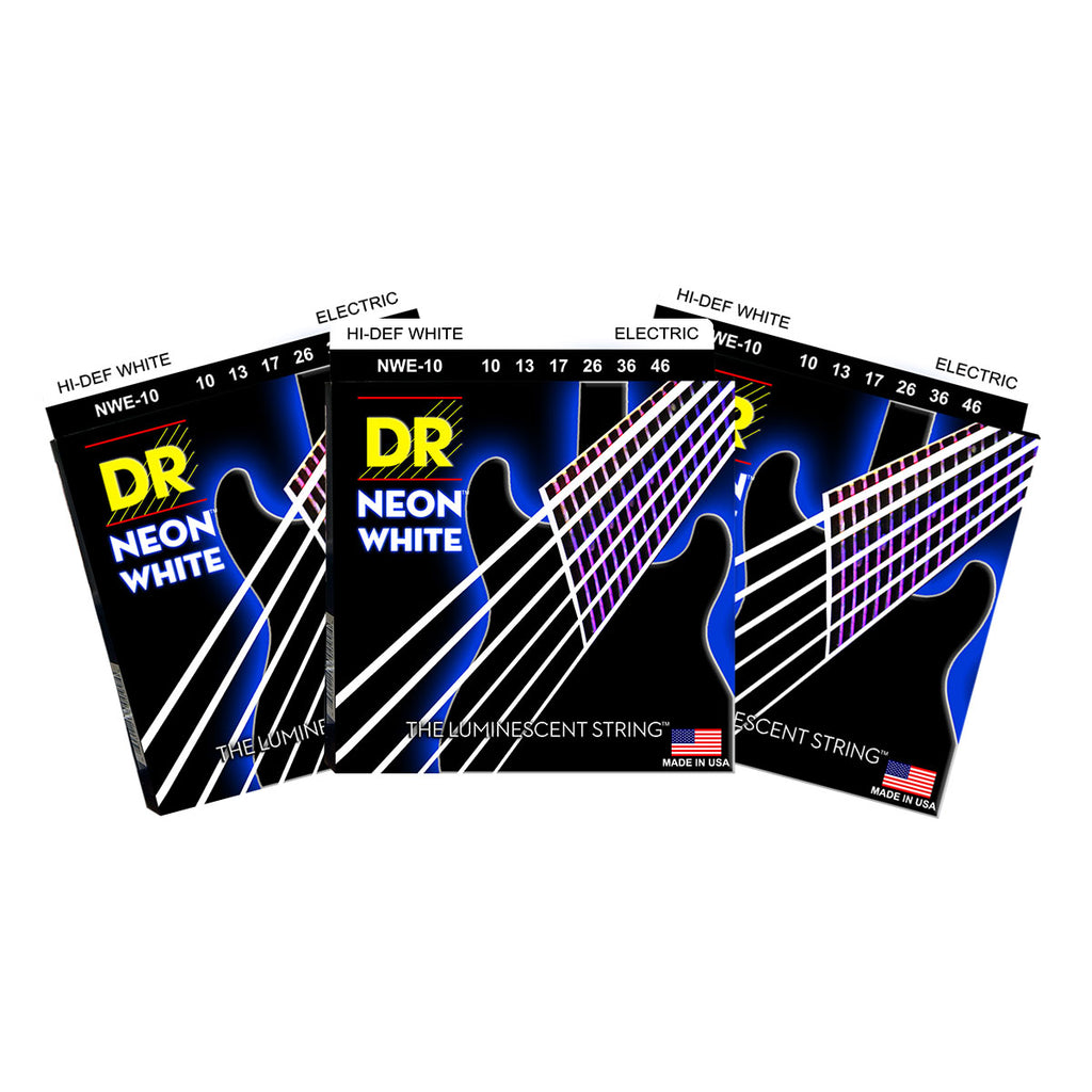 3 Sets DR NWE-10 Neon White Medium 10-46 Electric Guitar Strings