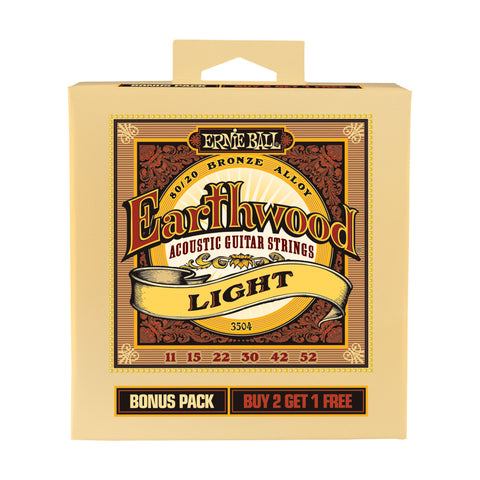 Buy 2 Get 1 FREE Ernie Ball 2004 Earthwood Light 11-52 Acoustic Strings #3504