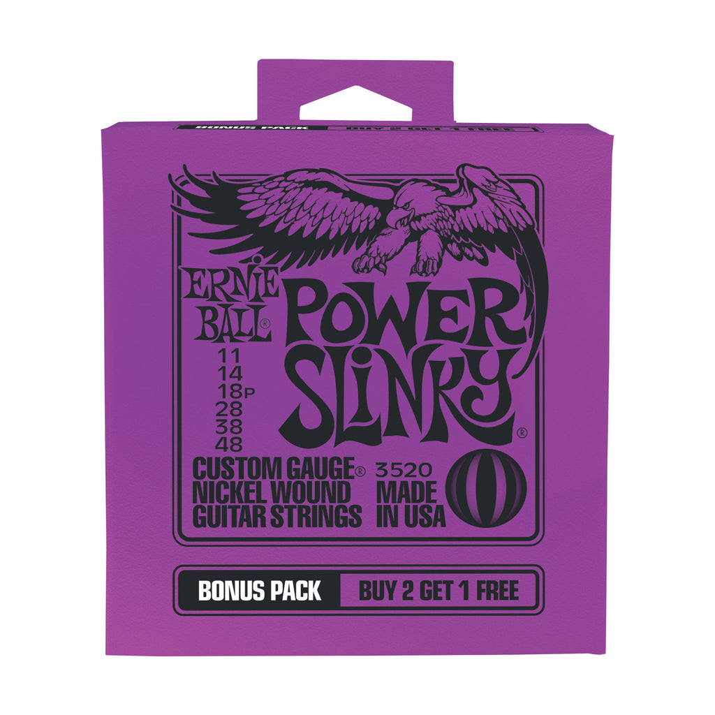 Buy 2 Get 1 FREE Ernie Ball 2220 Power Slinky 11-48 Electric Strings #3520