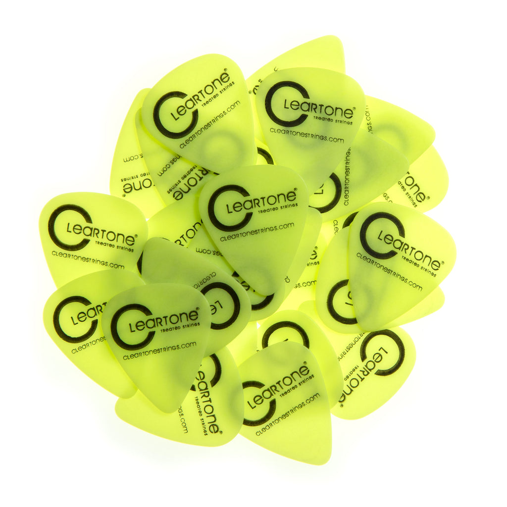 20 Cleartone Neon Yellow Classic Shape Guitar Picks