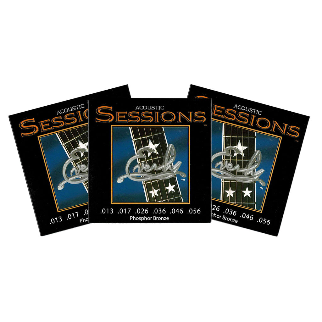 3 Sets Everly 7213 Acoustic Sessions Phosphor Bronze Medium 13-56 Strings