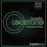 2 Pack Cleartone 7412 Light 12-53 Acoustic Guitar Strings - SPECIAL PRICE