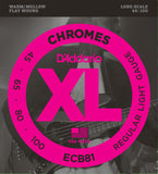 D'Addario ECB81 Chromes Flatwound Light 45-100 Long Scale Bass Guitar Strings