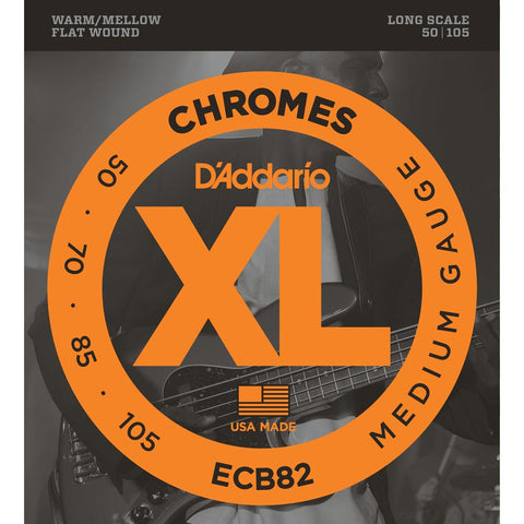 D'Addario ECB82 Chromes Flatwound Medium 50-105 Long Scale Bass Strings