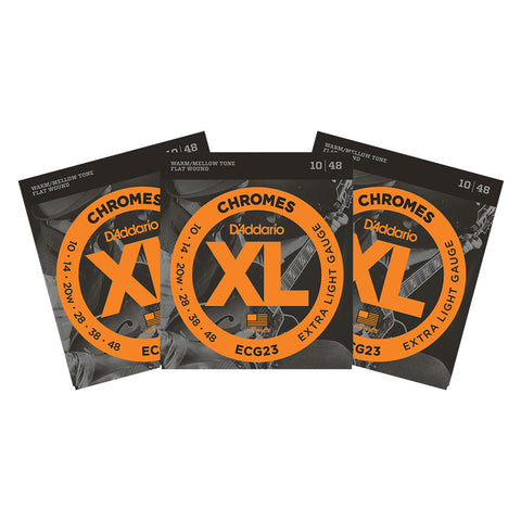 3 Sets D'Addario ECG23 Chromes Flatwound Jazz Extra Light 10-48 Strings