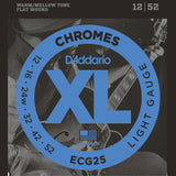 3 Sets D'Addario ECG25 Chromes Flatwound, Light, 12-52, Strings