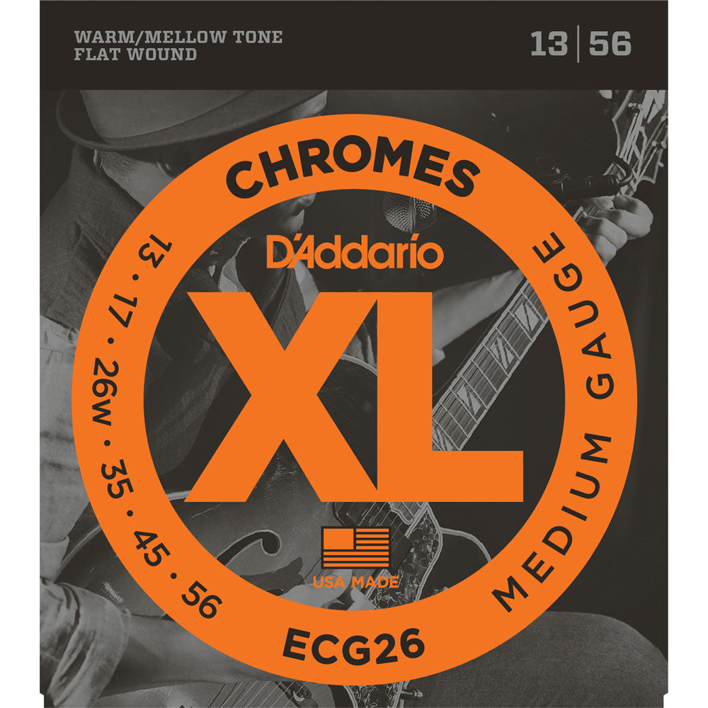 D'Addario ECG26 Chromes Flatwound, Medium, 13-56, Electric Guitar Strings