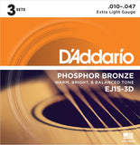 D'Addario EJ15-3D (3 Sets) Phosphor Bronze, Extra Light, 10-47, Acoustic Strings