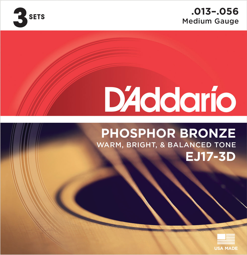 D'Addario EJ17-3D 3 Sets Phosphor Bronze, Medium, 13-56, Acoustic Guitar Strings