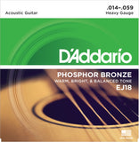 D'Addario EJ18 Phosphor Bronze, Heavy, 14-59, Acoustic Guitar Strings