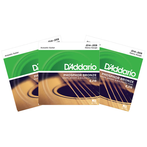 3 Sets D'Addario EJ18 Phosphor Bronze, Heavy, 14-59, Acoustic Guitar Strings