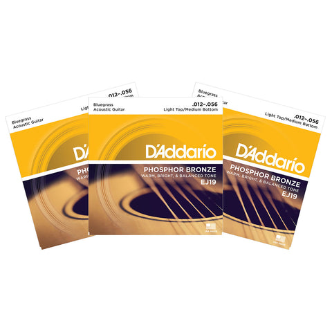 3 Sets D'Addario EJ19 Phosphor Bronze, Bluegrass, 12-56, Acoustic Guitar Strings