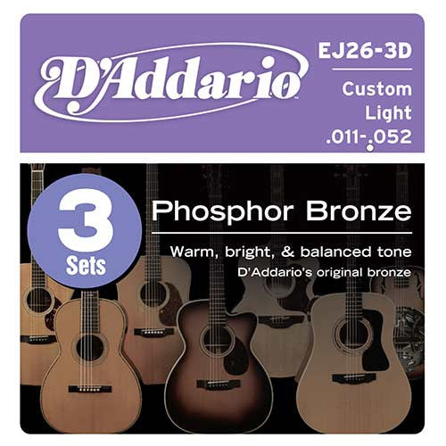 3 Pack D'Addario EJ26 Phosphor Bronze, Custom Light, 11-52, Acoustic Guitar Strings (EJ26-3D)