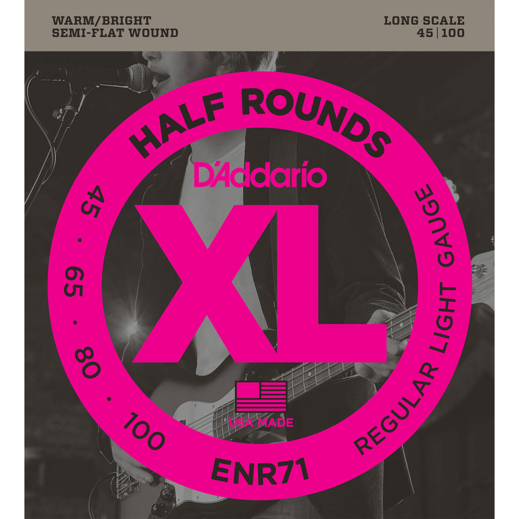 D'Addario ENR71 Half Round Semi Flatwound Light 45-100 Bass Guitar Strings