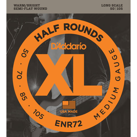 D'Addario ENR72 Half Round Semi Flatwound Medium 50-105 Bass Guitar Strings