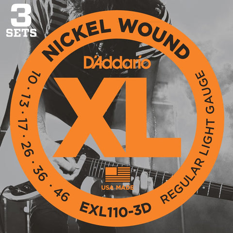 3 Pack D'Addario EXL110 Nickel Wound, Regular Light, 10-46 (EXL110-3D)