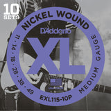 10 Pack D'Addario EXL115 Nickel Wound, Medium Blues Jazz Rock, 11-49 (EXL115-10P)