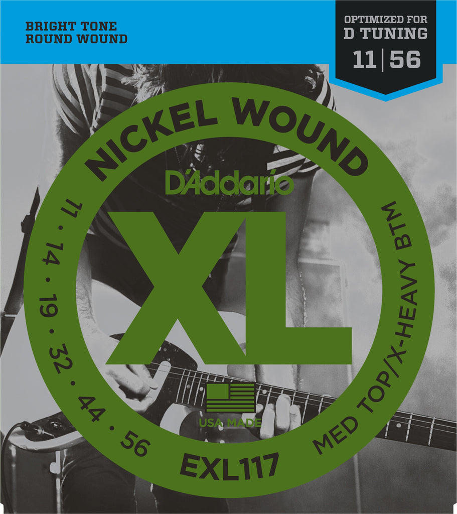 D'Addario EXL117 Nickel Wound Medium Top/Extra-Heavy Bottom (11-56)