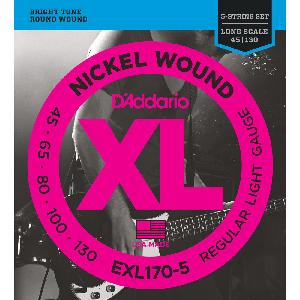 D'Addario EXL170-5, 5-String Nickel Wound Light 45-130 Long Scale Bass Guitar Strings