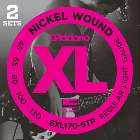2 Pack D'Addario EXL170-5, 5-String Nickel Wound Light 45-130 Long Scale Bass Guitar Strings (EXL170-5TP)