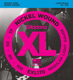 D'Addario EXL170 Nickel Wound Light 45-100 Long Scale Bass Guitar Strings