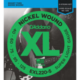 D'Addario EXL220-5 5 String Nickel Wound Super Light 40-125 Long Scale Bass Guitar Strings