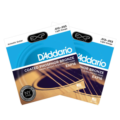 2 Sets D'Addario EXP16 Coated Phosphor Bronze Light 12-53 Acoustic Strings